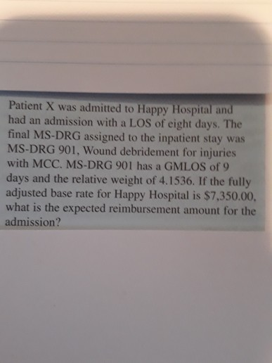 Patient X was admitted to Happy Hospital and had an admission with a LOS of eight days. The final MS-DRG assigned to the inpa
