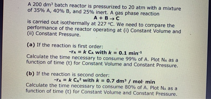 A 200 dm3 batch reactor is pressurized to 20 atm with a mixture of 35% A, 40% B, and 25% inert. A gas phase reaction A+ BC is