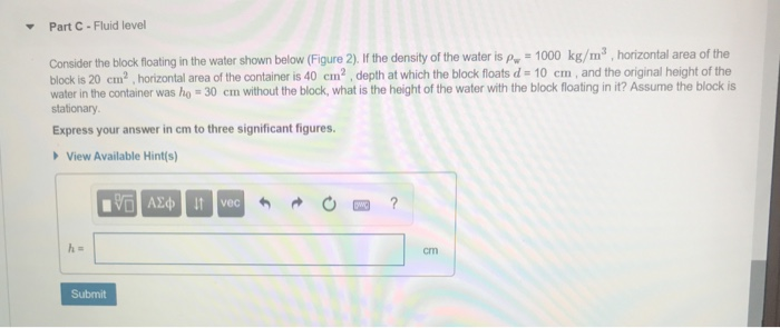 Part C- Fluid level Consider the block floating in the water shown below (Figure 2). If the density of the water is p 1000 kg