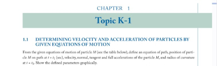 CHAPTER 1 Topic K-1 11 DETERMINING VELOCITY AND ACCELERATION OF PARTICLES BY GIVEN EQUATIONS OF MOTION From the given equations of motion of particle M (see the table below), define an equation of path, position of parti- le M on path at t f (sec), velocity, normal, tangent and full accelerations of the particle M, and radius of curvature at -11.Show the defined parameters graphically