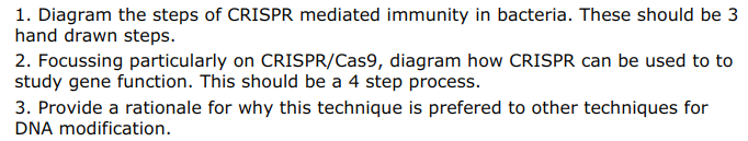 1. Diagram the steps of CRISPR mediated immunity in bacteria. These should be 3 hand drawn steps. 2. Focussing particularly on CRISPR/Cas9, diagram how CRISPR can be used to to study gene function. This should be a 4 step process. 3. Provide a rationale for why this technique is prefered to other techniques for DNA modification.