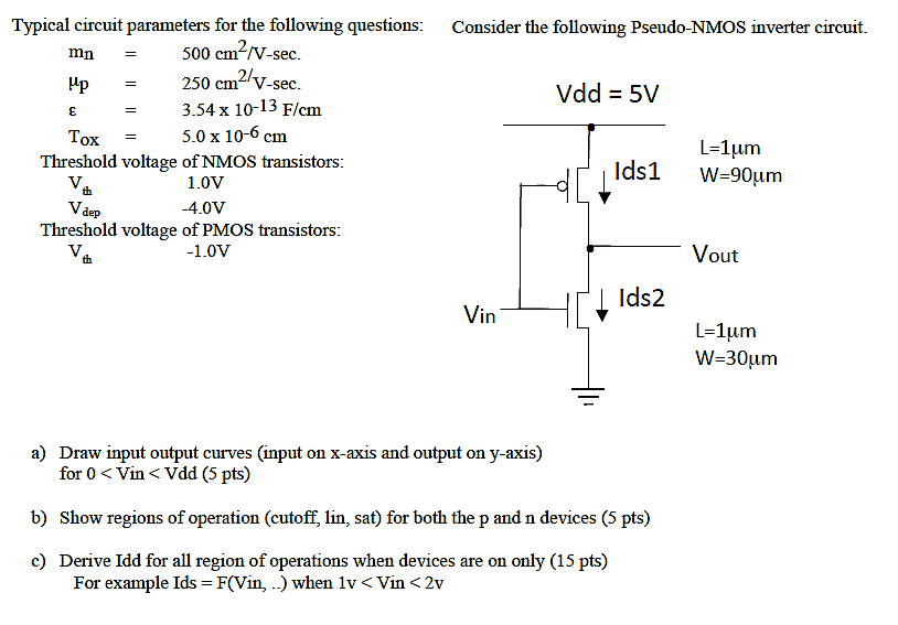 Typical circuit parameters for the following questions: Consider the following Pseudo-NMOS inverter circuit mn Up Tox 500 cm/V-sec. 250 cmV-sec 3.54 x 10-13 F/cm 5.0 x 10-6 cm 2/ Vdd = 5V L-1um Threshold voltage of NMOS transistors Ids1 W-90um 1.0V 4.0V th dep Threshold voltage of PMOS transistors 1.0V Vout th | Ids2 in L-1 um a) Draw input output curves (input on x-axis and output on y-axis) for 0 < Vin < Vdd (5 pts) b) Show regions of operation (cutoff, lin, sat) for both the p and n devices (5 pts) c) Derive Idd for all region of operations when devices are on only (15 pts) For example Ids F(Vin, ..) when 1v < Vin <2v