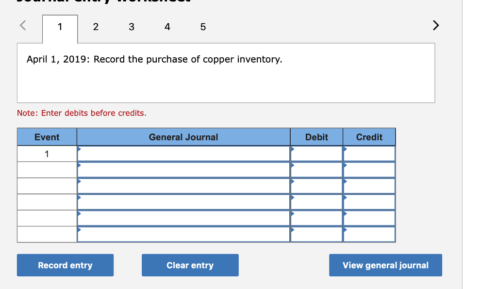 2 3 4 5 April 1, 2019: Record the purchase of copper inventory. Note: Enter debits before credits. Event General Journal Debit Credit Record entry Clear entry View general journal