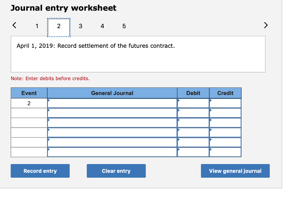 Journal entry worksheet 2 3 4 5 April 1, 2019: Record settlement of the futures contract. Note: Enter debits before credits. Event General Journal Debit Credit 2 Record entry Clear entry View general journal