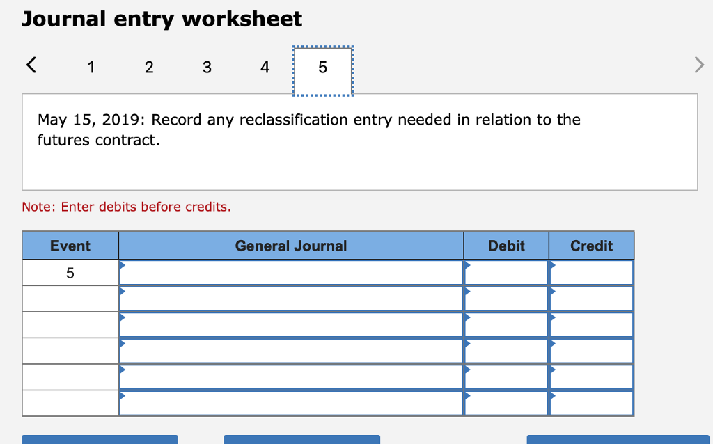 Journal entry worksheet 2 3 4 5 May 15, 2019: Record any reclassification entry needed in relation to the futures contract. Note: Enter debits before credits. Event General Journal Debit Credit 5
