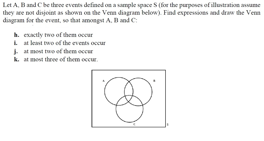 Let A, B and C be three events defined on a sample space S (for the purposes of illustration assume they are not disjoint as shown on the Venn diagram below). Find expressions and draw the Venn diagram for the event, so that amongst A, B and C: h. exactly two of them occur i. at least two of the events occur j. at most two of them occur k. at most three of them occur. 001