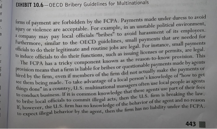 EXHIBIT 10.6-OECD Bribery Guidelines for Multinationals orms of payment are forbidden by the FCPA. Payments made under duress