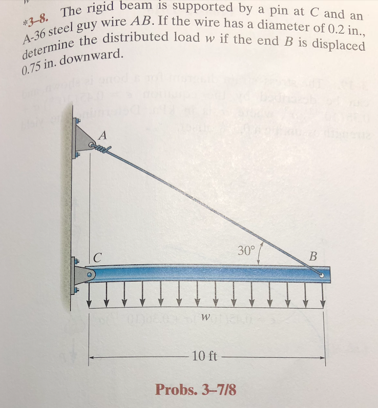 rigid beam is supported by a pin at C and an wire AB. If the wire has a diameter of 0.2 in., -8. The 3-8. 36 steei the distributed load w if the end B is displaced mie the distr 0.75 in. downward A-3 IS 30° 10 ft Probs. 3-7/8
