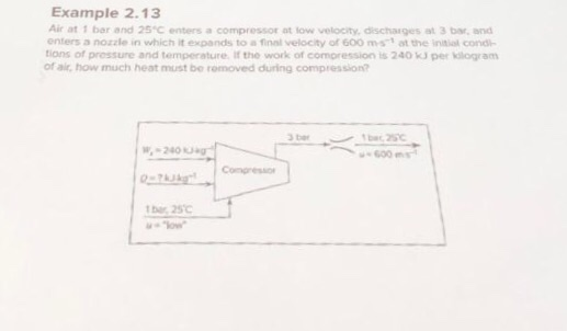 Example 2.13 Air at 1 bar and 25 C enters a compressor at low velocity, discharges at 3 bar, and enters a nozzle in which it expands to ล firnl velocity of 600 ms-t at the initial cond- tions of pressure and temperature If the work of compression is 240 kJ per klogram of air, how much heat must be romoved during compression? bar 250
