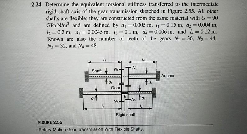 2.24 Determine the equivalent torsional stiffness transferred to the intermediate rigid shaft axis of the gear transmission sketched in Figure 2.55. All other shafts are flexible; they are constructed from the same material with G 90 GPa N/m2 and are defined by di 0.005 m, 0.15 m, d2 0.004 m, 1,-0.2 m, d= 0.0045 m, 13 = 0.1 m, da = 0.006 m, and 4 = 0.12 m. Known are also the number of teeth of the gears Ni 36, N2 44, N3 32, and N4 48. Shaft TN dAnchor d4 Gear d2 N2 Rigid shaft FIGURE 2.55 Rotary-Motion Gear Transmission With Flexible Shafts.