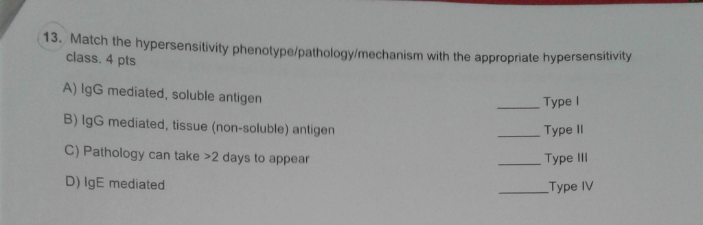 13. Match the hypersensitivity phenotype/pathology/mechanism with the appropriate hypersensitivity class. 4 pts A) IgG mediated, soluble antigen B) IgG mediated, tissue (non-soluble) antigen C) Pathology can take >2 days to appear D) IgE mediated Type I Type II Type IlI Type IV