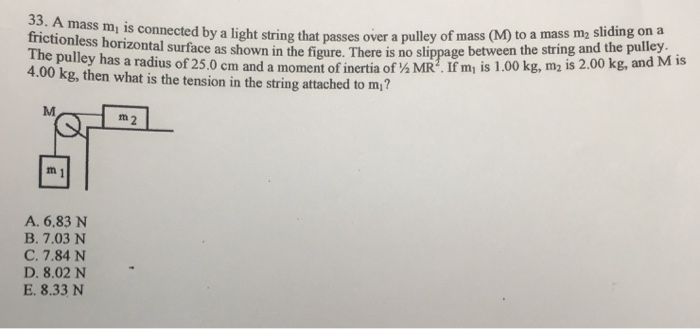 33. A mass m, is connected by a light string that passes over a pulley of mass frictionless horizontal surface as shown in th
