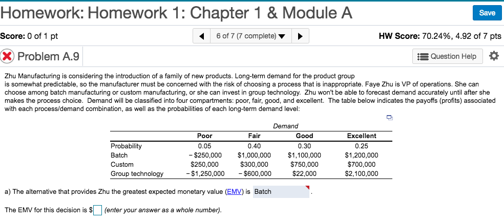 Homework: Homework 1: Chapter 1 &Module A Save Score: 0 of 1 pt 6 of 7 (7 complete) HW Score: 70.24%, 4.92 of 7 pts X Problem A.9 Question Help Zhu Manufacturing is considering the introduction of a family of new products. Long-term demand for the product group is somewhat predictable, so the manufacturer must be concerned with the risk of choosing a process that is inappropriate. Faye Zhu is VP of operations. She can choose among batch manufacturing or custom manufacturing, or she can invest in group technology. Zhu wont be able to forecast demand accurately until after she makes the process choice. Demand will be classified into four compartments: poor, fair, good, and excellent. The table below indicates the payoffs (profits) associated with each process/demand combination, as well as the probabilities of each long-term demand level Demand Poor 0.05 Good Probability Batch Custom Group technology Excellent 0.25 $1,200,000 $700,000 $2,100,000 0.40 0.30 - $250,000 $1,000,000 $1,100,000 S250,000 $750,000 $22,000 S300,000 50,000 $600,000 a) The alternative that provides Zhu the greatest expected monetary value (EMV) is Batch - $1,2 The EMV for this decision is $L (enter your answer as a whole number)