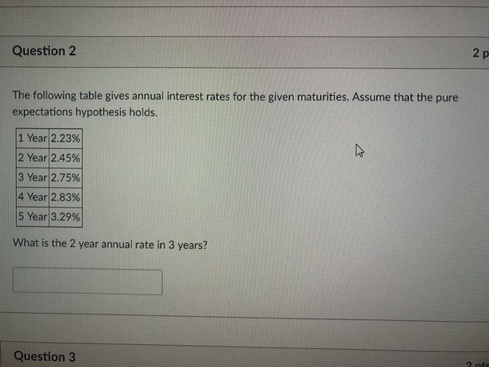 2 p Question 2 The following table gives annual interest rates for the given maturities. Assume that the pure expectations hypothesis holds. 1 Year|2.23% 2 Year|2.45% 3 Year!2.75% 4 Year! 2.83% 5 Year|3.29% What is the 2 year annual rate in 3 years? Question 3