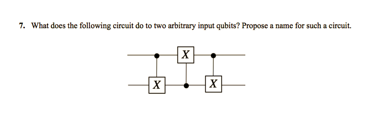 7. What does the following circuit do to two arbitrary input qubits? Propose a name for such a circuit.