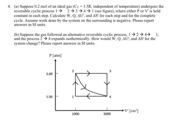 4. (a) Suppose 0.2 mol of an ideal gas (Cv- 1.5R, independent of temperature) undergoes the reversible cyclic process 23->4 ->1 (see figure), where either P or V is held constant in each step. Calculate W, Q. AU, and ASt for each step and for the complete cycle. Assume work done by the system on the surrounding is negative. Please report answers in SI units. (b) Suppose the gas followed an alternative reversible cyclic process,24 1 and the process 2-) 4 expands isothermically. How would W, Q,AU, and ASt for the system change? Please report answers in SI units P [atm] 5.00F 1.00 V [cm] 1000 5000