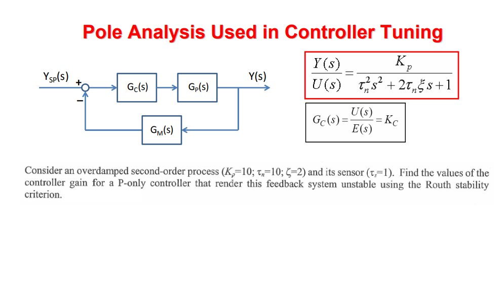 Pole Analysis Used in Controller Tuning Y (s) Ysp(s) + Y(s) Gcls) Gp(s) CE(S) GM(s) Consider an overdamped second-order proce