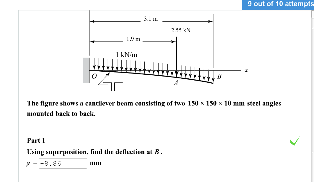 9 out of 10 attempts 3.1 m 2.55 kN 1.9 m 1 kN/m The figure shows a cantilever beam consisting of two 150 x 150 x 10 mm steel angles mounted back to back Part 1 Using superposition, find the deflection at B. y8.86