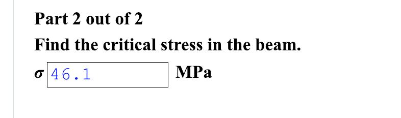Part 2 out of 2 Find the critical stress in the beam. ơ46.1 MPa