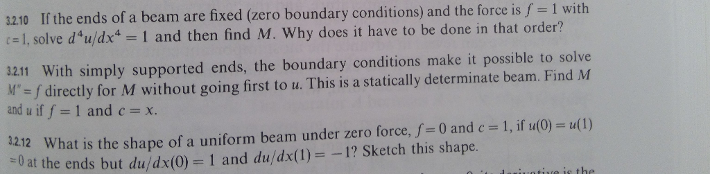 3210 If the ends of a beam are fixed (zero boundary conditions) and the force is f- 1 with (#1, solve d4u/dx4 1 and then find