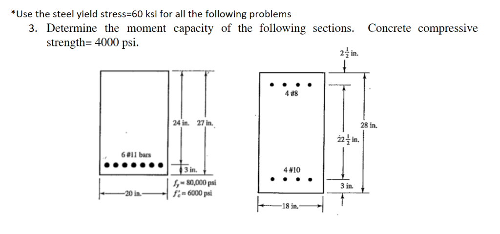 *Use the steel yield stress-60 ksi for all the following problems 3. Determine the moment capacity of the following sections.