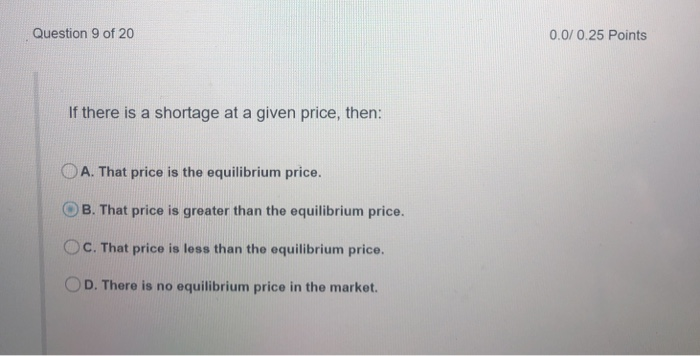 Question 9 of 20 0.0/0.25 Points If there is a shortage at a given price, then: OA. That price is the equilibrium price. O B. That price is greater than the equilibrium price. OC. That price is less than the equilibrium price. O D. There is no equilibrium price in the market.