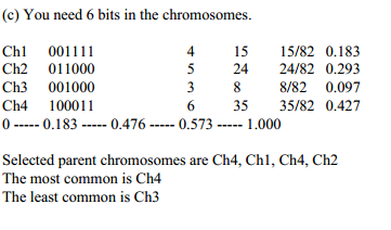 (c) You need 6 bits in the chromosomes Ch 001111 Ch2 011000 Ch3 001000 Ch4 100011 0 0.1 83 0.476 0.573 1.000 4 15 15/82 0.183 5 24 24/82 0.293 3 8 8/82 0.097 6 35 35/82 0.427 Selected parent chromosomes are Ch4, Chl, Ch4, Ch2 The most common is Ch4 The least common is Ch3