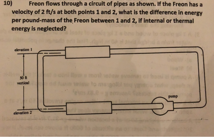 10) Freon flows through a circuit of pipes as shown. If the Freon has a velocity of 2 ft/s at both points 1 and 2, what is the difference in energy per pound-mass of the Freon between 1 and 2, if internal or thermal energy is neglected? elevation 1 so t vertical pump elevation2
