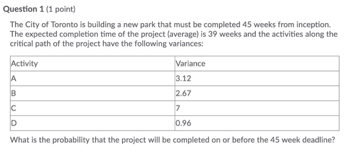 Question 1 (1 point) The City of Toronto is building a new park that must be completed 45 weeks from inception. The expected completion time of the project (average) is 39 weeks and the activities along the critical path of the project have the following variances: Variance 3.12 2.67 7 Activity .96 What is the probability that the project will be completed on or before the 45 week deadline?