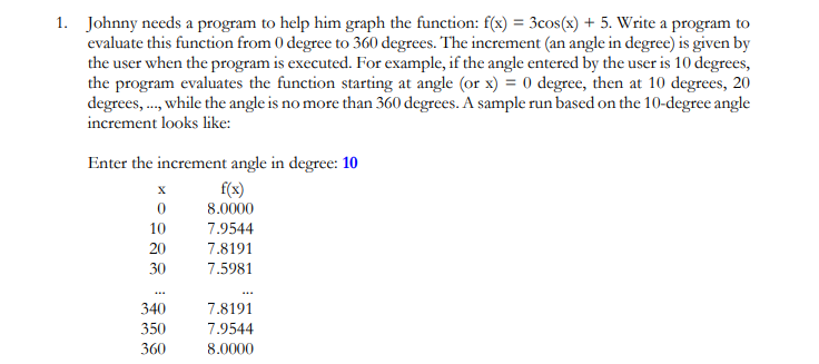 1. Johnny needs a program to help him graph the function: f(x) - 3cos(x) + 5. Write a program to evaluate this function from 0 degree to 360 degrees. The increment (an angle in degree) is given by the user when the program is executed. For example, if the angle entered by the user is 10 degrees, the program evaluates the function starting at angle (or x) = 0 degree, then at 10 degrees, 20 degrees,.., while the angle is no more than 360 degrees. A sample run based on the 10-degree angle increment looks like: Enter the increment angle in degree: 10 10 20 30 f(sx) 8.0000 7.9544 7.8191 7.5981 340 350 360 7.8191 7.9544 8.0000