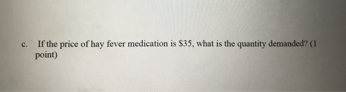 If the price of hay fever medication is $35, what is the quantity demanded? (1 point) c.