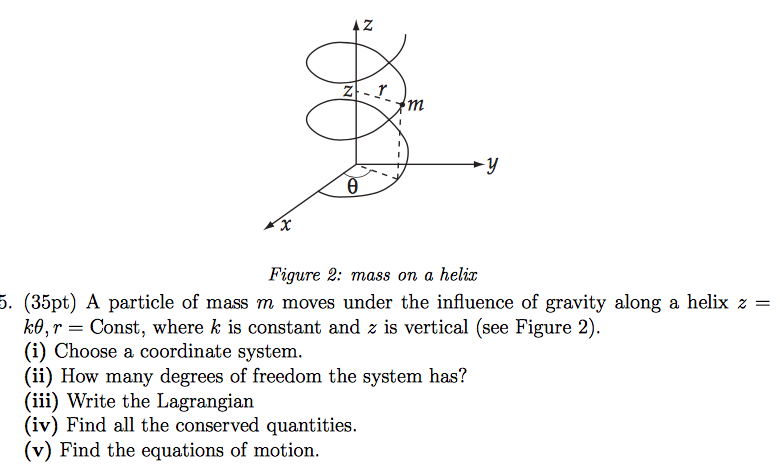Figure 2: mass on a helix (35pt) A particle of mass m moves under the influence of gravity along a helix z k, Const, where k