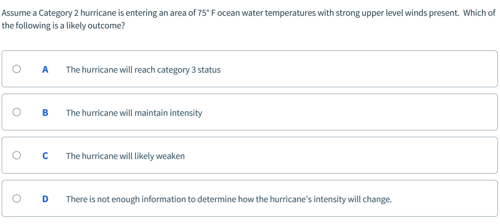 Assume a Category 2 hurricane is entering an area of 75° F ocean water temperatures with strong upper level winds present. Wh