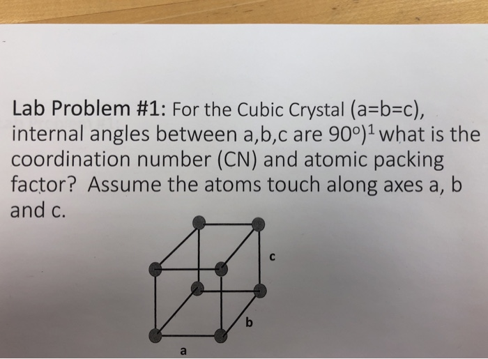 Lab Problem #1: For the Cubic Crystal (a-b-c), internal angles between a,b,c are 900)1 what is the coordination number (CN) and atomic packing factor? Assume the atoms touch along axes a, b and c.