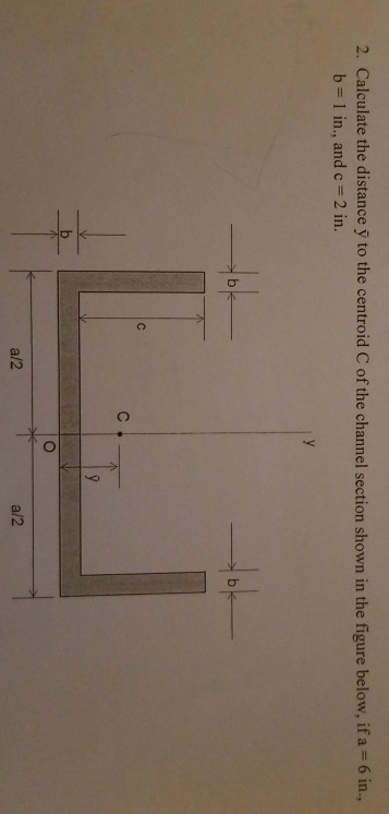 2. Calculate the distance y to the centroid C of the channel section shown in the figure below, if a-6 in, b 1 in., and c 2 in. a/2 a/2