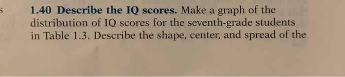 1.40 Describe the IQ scores. Make a graph of the distribution of IQ scores for the seventh-grade students in Table 1.3. Describe the shape, center, and spread of the