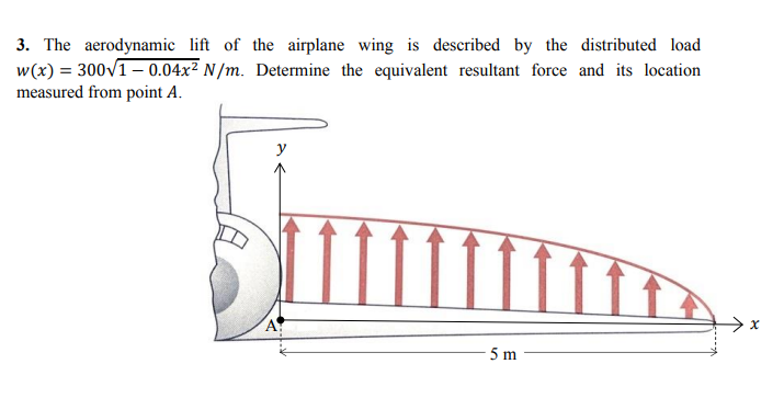 3. The aerodynamic of the airplane wing is described by the distributed load w(x)=300v1-0.04x2 N/m. Determine the equivalent