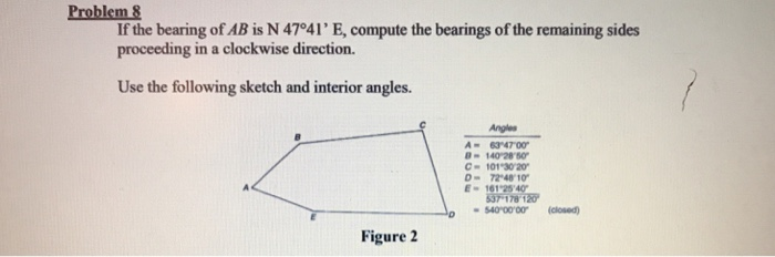 Problem If the bearing of AB is N 47°41 E, compute the bearings of the remaining sides proceeding in a clockwise direction.