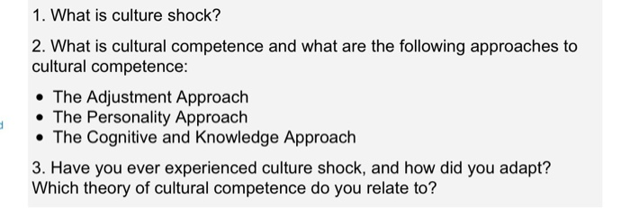 1. What is culture shock? 2. What is cultural competence and what are the following approaches to cultural competence: . The