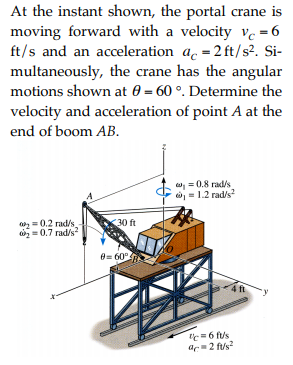 At the instant shown, the portal crane is moving forward with a velocity vc=6 ft/s and an acceleration ac=2 ft/s? Si- multaneously, the crane has the angular motions shown at θ-60 °. Determine the velocity and acceleration of point A at the end of boom AB. C- al : 0.8 rad/s ώ1-1.2 rade 30 ft = 0.2 rad/s 0.7 rad/s θ= 60 rt = 6 ft/s a 2 ft/s