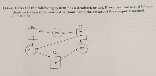04-a) Detect if the following system has a deadlock or not. Prove your answer. If it has a deadlock then terminates it without using the restart of the computer method. (3 POINTS) R1 0 P1 P2 R2