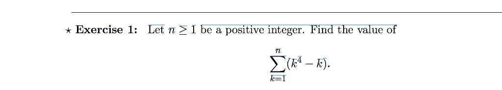 * Exercise 1: Let π 1 b e a positive integer. Find the value o f - TL