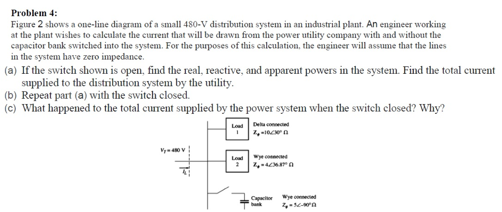 Problem 4: Figure 2 shows a one-line diagram of a small 480-V distribution system in an industrial plant. An engineer working at the plant wishes to calculate the current that will be drawn from the power utility company with and without the capacitor bank switched into the system. For the purposes of this calculation, the engineer will assume that the lines in the system have zero impedance (a) If the switch shown is open, find the real, reactive, and apparent powers in the system. Find the total current supplied to the distribution system by the utility. (b) Repeat part (a) with the switch closed. (c) What happened to the total current supplied by the power system when the switch closed? Why? Load Delta connected V1-480 V Loxd Wye coneced г.-413687-а Capacitor Wye connected bankZ,-32-90n