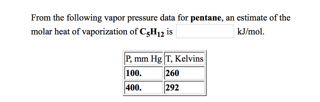 From the following vapor pressure data for pentane, an estimate of the molar heat of vaporization of C5H12 is kJ/mol P,mm Hg T, Kelvins 100. 400 260 292