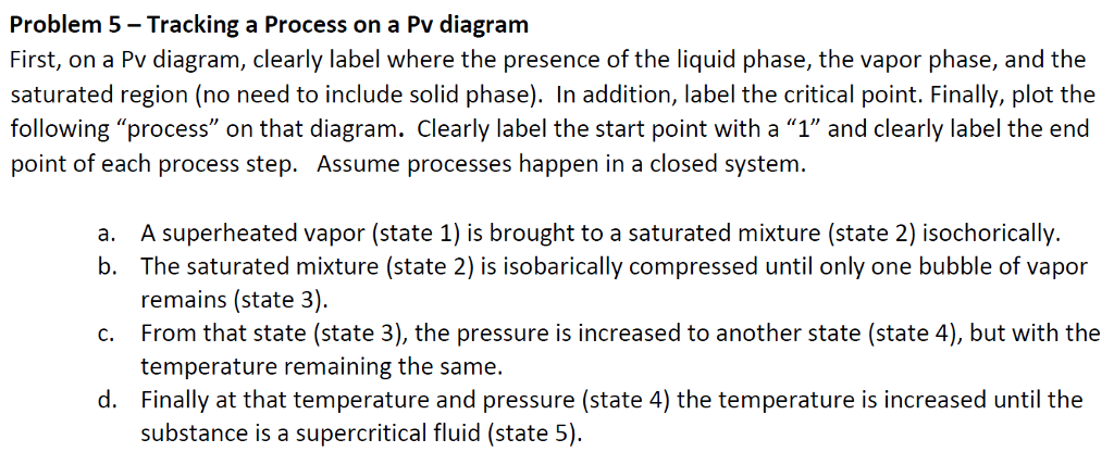 Problem 5-Tracking a Process on a Pv diagram First, on a Pv diagram, clearly label where the presence of the liquid phase, the vapor phase, and the saturated region (no need to include solid phase). In addition, label the critical point. Finally, plot the following process on that diagram. Clearly label the start point with a 1 and clearly label the end point of each process step. Assume processes happen in a closed system A superheated vapor (state 1) is brought to a saturated mixture (state 2) isochorically The saturated mixture (state 2) is isobarically compressed until only one bubble of vapor remains (state 3). From that state (state 3), the pressure is increased to another state (state 4), but with the temperature remaining the same. Finally at that temperature and pressure (state 4) the temperature is increased until the substance is a supercritical fluid (state 5). a. b. c. d.