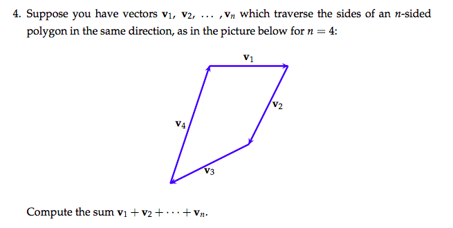 ,Vn which traverse the sides of an n-sided 4. Suppose you have vectors vi, v2, 4: polygon in the same direction, as in the picture below forn V1 V2 V4 V3 Compute the sum v1 + v2+ ..+Vn