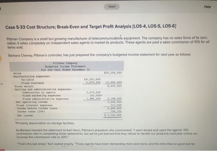 Saved Help Case 5-33 Cost Structure; Break-Even and Target Profit Analysis [LO5-4, LO5-5, LO5-6 Pittman Company is a small bu