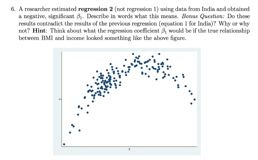 6. A researcher estimated regression 2 (not regression 1) using data from India and obtained a negative, significant 61. Describe in words what this means. Bonus Question: Do these results contradict the results of the previous regression (equation 1 for India)? Why or why not? Hint: Think about what the regression coefficient B1 would be if the true relationship between BMI and income looked something like the above figure.