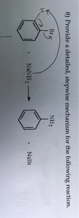 8) Provide a detailed, stepwise mechanism for the following reaction. NH NaNH + NaBr
