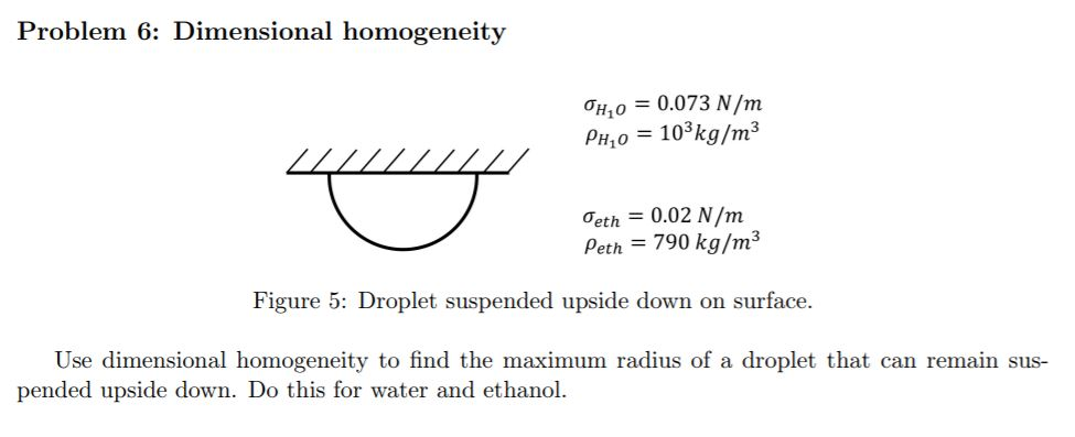 Problem 6: Dimensional homogeneity ƠHī0 = 0.073 N/m PH10-103 kg/m3 Ơet,-0.02 N/m Peth = 790 kg/m3 Figure 5: Droplet suspended upside down on surface Use dimensional homogeneity to find the maximum radius of a droplet that can remain sus- pended upside down. Do this for water and ethano